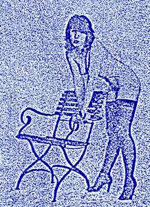 Blauer Akt mit Stuhl